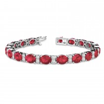 Diamond & Oval Cut Garnet Tennis Bracelet 14k White Gold (13.62ct)