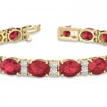 Diamond & Oval Cut Garnet Tennis Bracelet 14k Yellow Gold (13.62ct)