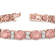 Diamond & Oval Cut Morganite Tennis Bracelet 14k Rose Gold (13.62ct)