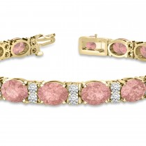 Diamond & Oval Cut Morganite Tennis Bracelet 14k Yellow Gold (13.62ct)