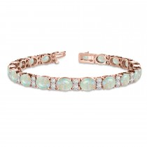 Diamond & Oval Cut Opal Tennis Bracelet 14k Rose Gold (13.62ct)