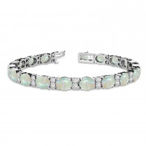 Diamond & Oval Cut Opal Tennis Bracelet 14k White Gold (13.62ct)