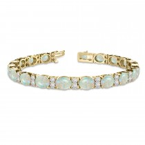 Diamond & Oval Cut Opal Tennis Bracelet 14k Yellow Gold (13.62ct)