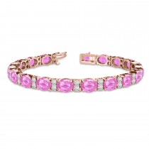 Diamond & Oval Cut Pink Sapphire Tennis Bracelet 14k Rose Gold (13.62ct)
