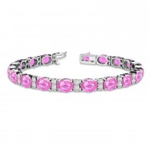 Diamond & Oval Cut Pink Sapphire Tennis Bracelet 14k White Gold (13.62ct)