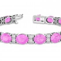 Diamond & Oval Cut Pink Sapphire Tennis Bracelet 14k White Gold (13.62ct)
