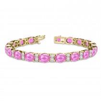 Diamond & Oval Cut Pink Sapphire Tennis Bracelet 14k Yellow Gold (13.62ct)