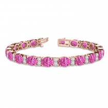 Diamond & Oval Cut Pink Tourmaline Tennis Bracelet 14k R Gold (13.62ct)