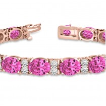 Diamond & Oval Cut Pink Tourmaline Tennis Bracelet 14k R Gold (13.62ct)|escape