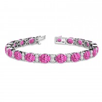 Diamond & Oval Cut Pink Tourmaline Tennis Bracelet 14k W Gold (13.62ct)