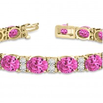 Diamond & Oval Cut Pink Tourmaline Tennis Bracelet 14k Y Gold (13.62ct)