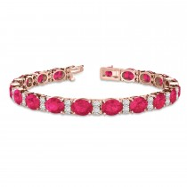 Diamond & Oval Cut Ruby Tennis Bracelet 14k Rose Gold (13.62ctw)