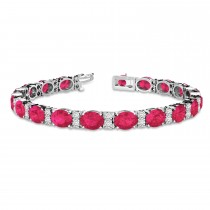 Diamond & Oval Cut Ruby Tennis Bracelet 14k White Gold (13.62ctw)