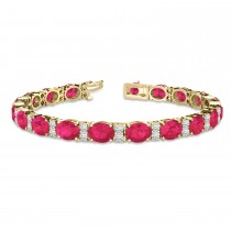 Diamond & Oval Cut Ruby Tennis Bracelet 14k Yellow Gold (13.62ctw)