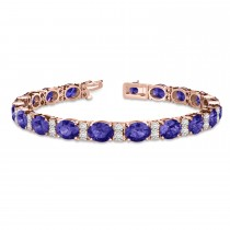Diamond & Oval Cut Tanzanite Tennis Bracelet 14k Rose Gold (13.62ct)