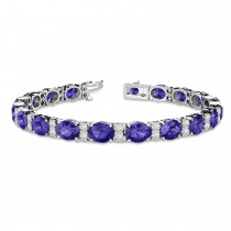 Diamond & Oval Cut Tanzanite Tennis Bracelet 14k White Gold (13.62ct)
