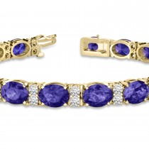 Diamond & Oval Cut Tanzanite Tennis Bracelet 14k Yellow Gold (13.62ct)