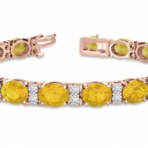 Diamond & Oval Cut Yellow Sapphire Tennis Bracelet 14k Rose Gold (13.62ct)