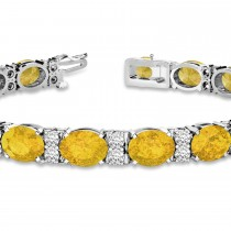 Diamond & Oval Cut Yellow Sapphire Tennis Bracelet 14k White Gold (13.62ct)