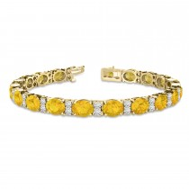 Diamond & Oval Cut Yellow Sapphire Tennis Bracelet 14k Yellow Gold (13.62ct)