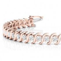 Diamond Tennis S Link Bracelet 14k Rose Gold (3.08ct)