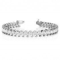 Diamond Tennis S Link Bracelet 14k White Gold (3.08ct)