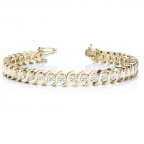 Diamond Tennis S Link Bracelet 14k Yellow Gold (3.08ct)