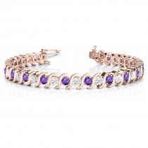 Amethyst & Diamond Tennis S Link Bracelet 14k Rose Gold (4.00ct)