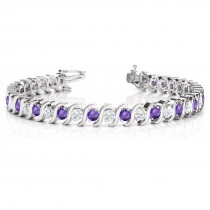 Amethyst & Diamond Tennis S Link Bracelet 14k White Gold (4.00ct)