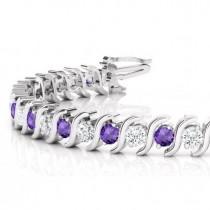 Amethyst & Diamond Tennis S Link Bracelet 14k White Gold (4.00ct)