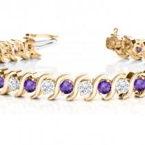 Amethyst & Diamond Tennis S Link Bracelet 14k Yellow Gold (4.00ct)
