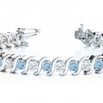 Aquamarine & Diamond Tennis S Link Bracelet 14k White Gold (4.00ct)