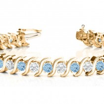 Aquamarine & Diamond Tennis S Link Bracelet 14k Yellow Gold (4.00ct)