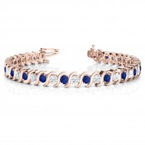 Blue Sapphire & Diamond Tennis S Link Bracelet 14k Rose Gold (4.00ct)