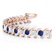 Blue Sapphire & Diamond Tennis S Link Bracelet 14k Rose Gold (4.00ct)