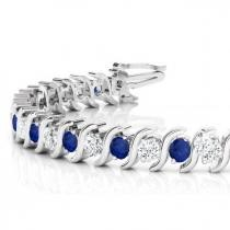 Blue Sapphire & Diamond Tennis S Link Bracelet 14k White Gold (4.00ct)