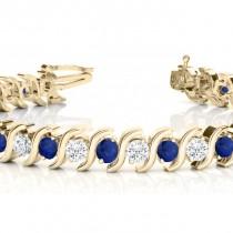 Blue Sapphire & Diamond Tennis S Link Bracelet 14k Yellow Gold (4.00ct)