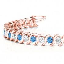 Blue Topaz & Diamond Tennis S Link Bracelet 14k Rose Gold (4.00ct)