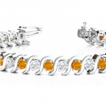 Citrine & Diamond Tennis S Link Bracelet 14k White Gold (4.00ct)