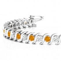 Citrine & Diamond Tennis S Link Bracelet 14k White Gold (4.00ct)