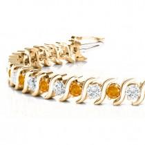 Citrine & Diamond Tennis S Link Bracelet 14k Yellow Gold (4.00ct)