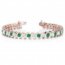Emerald & Diamond Tennis S Link Bracelet 14k Rose Gold (4.00ct)