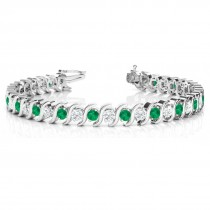 Emerald & Diamond Tennis S Link Bracelet 14k White Gold (4.00ct)