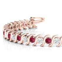 Garnet & Diamond Tennis S Link Bracelet 14k Rose Gold (4.00ct)