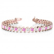 Pink Sapphire & Diamond Tennis S Link Bracelet 14k Rose Gold (4.00ct)