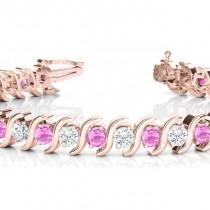 Pink Sapphire & Diamond Tennis S Link Bracelet 14k Rose Gold (4.00ct)