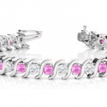 Pink Sapphire & Diamond Tennis S Link Bracelet 14k White Gold (4.00ct)