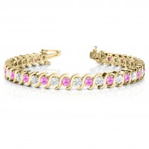 Pink Sapphire & Diamond Tennis S Link Bracelet 14k Yellow Gold (4.00ct)
