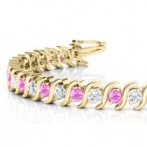 Pink Sapphire & Diamond Tennis S Link Bracelet 14k Yellow Gold (4.00ct)