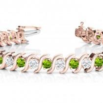 Peridot & Diamond Tennis S Link Bracelet 14k Rose Gold (4.00ct)